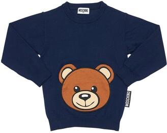 Moschino Cotton Blend Knit Sweater W/ Teddy Bear