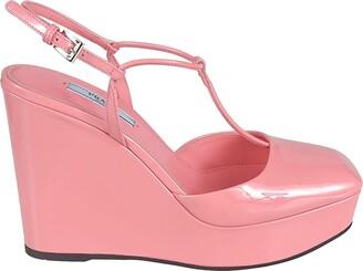 Prada Buckled Wedge Sandals