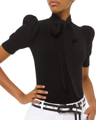 Michael Kors Cashmere Tie-Neck Puff-Sleeve Sweater