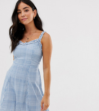 New Look sundress with ruffle edge in check