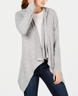 Hooked Up By Iot Hooked Up by Iot Juniors' Cozy Hooded Open-Front Cardigan