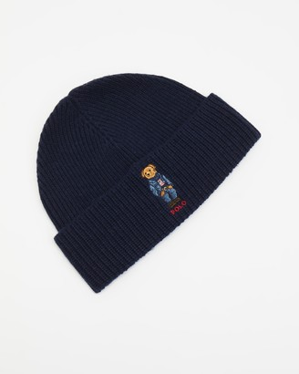 Polo Ralph Lauren Blue Beanies - Jean Jacket Sweater Bear Cuff Hat - Size One Size at The Iconic