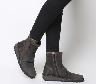 Fly London Mon Zip Boots Diesel Suede