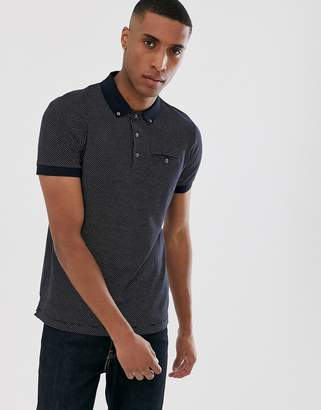 French Connection micro dot polo shirt-Navy