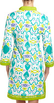 Sheridan French Gabby Beaded Neck Ikat Dress, Turquoise