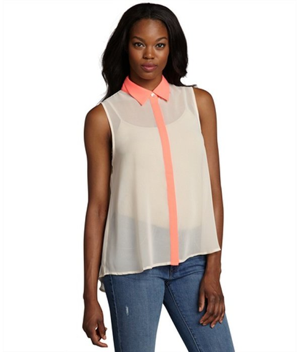 Romeo & Juliet Couture nude and neon pink chiffon colorblock button down blouse
