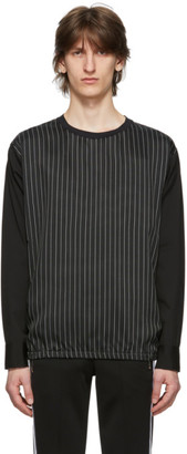 Neil Barrett Black and White Extrafine Cupro Striped Long Sleeve T-Shirt