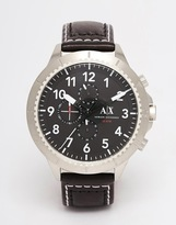Armani Exchange Watch With Leather Strap Ax1754 - Black