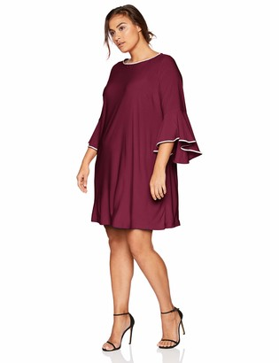 MSK Women's Plus Size Day to Evening Bell Sleeve Dress with Trim Details