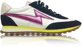 Marc Jacobs Astor White & Multicolor Nylon Sneaker w/Lightning Bolt Logo