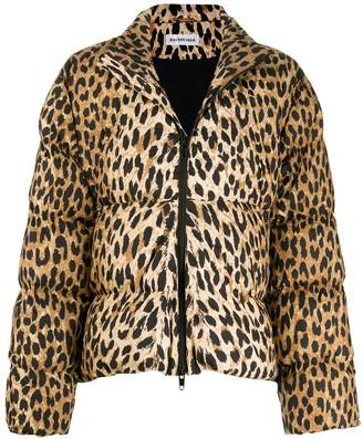 Balenciaga leopard print C-shape puffer jacket
