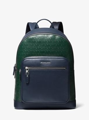 Michael Kors Hudson Two-Tone Logo Debossed Leather Backpack