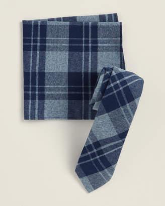 Original Penguin Two-Piece Dell Plaid Navy Pattern Tie & Pocket Square Set