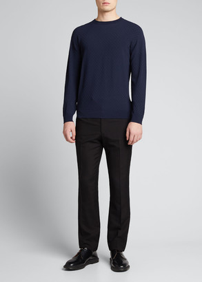 Giorgio Armani Men's Tonal Pattern Crewneck Sweater
