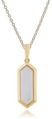 Gemondo Mother Of Pearl Prism Pendant in Gold Plated Silver