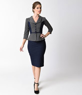Stop Staring Navy Blue & Grey Dotted Sleeved Leonora Wiggle Dress