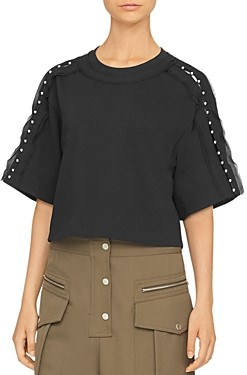 3.1 Phillip Lim Embellished Cropped Cotton Tee