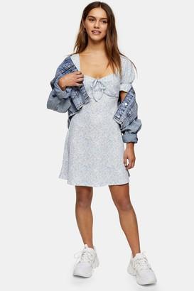 Topshop Womens Petite Blue Open Back Flippy Dress - Blue