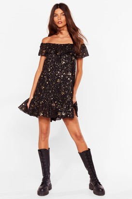 Nasty Gal Womens Rock Star Mentality Off-the-Shoulder Mini Dress - Black - 4, Black
