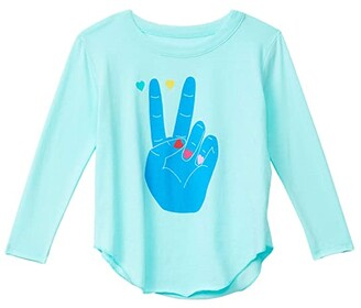 Chaser Recycled Vintage Jersey Long Sleeve Shirttail Tee (Little Kids/Big Kids) (Breezy) Girl's Clothing