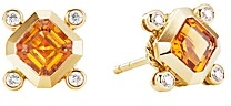 David Yurman 18K Yellow Gold Novella Stud Earrings with Madeira Citrine & Diamonds