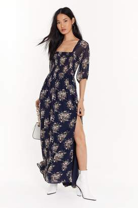 Nasty Gal Womens We're Sheer for You Floral Maxi Dress - blue - 4