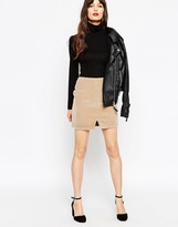 Asos Mini Skirt in Faux Pony Skin Notch Hem