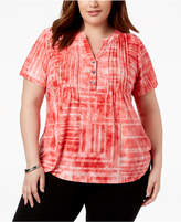 NY Collection Plus Size Pintucked Jacquard Top
