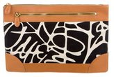 Diane von Furstenberg Leather-Trimmed Printed Clutch