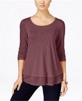 Style&Co. Style & Co. Petite Chiffon-Hem Top, Only at Macy's