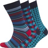 Duchamp Mens Three Pack Egyptian Cotton Socks Blue Red Check