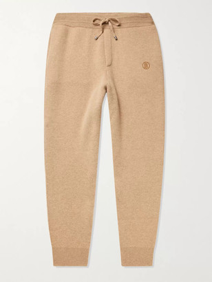 Burberry Tapered Logo-Embroidered Cashmere-Blend Sweatpants - Men - Neutrals