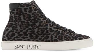Saint Laurent Leo Print High Top Canvas Sneakers