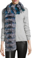 Pologeorgis Layered Fox Fur Scarf, Blue/Black