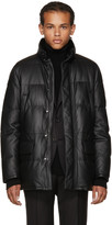 Brioni Black Leather Puffer Jacket