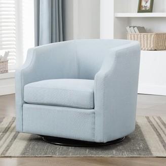 Three Posts Debbie Swivel Barrel Chair Fabric: Blue