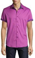 Robert Graham Vertigo Short-Sleeve Sport Shirt, Purple