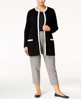 Charter Club Plus Size Contrast-Trim Cardigan, Only at Macy's