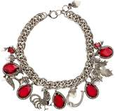 Alexander McQueen Embellished Charm Necklace, White, One Size