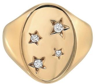 Dru Diamond Starred Signet Ring - Yellow Gold