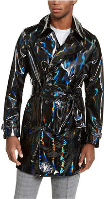 INC International Concepts Inc Men Onyx Rubberized Holographic Trench Coat