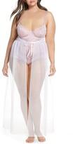 Oh La La Cheri Jeana Lace Underwire Bodysuit with Sheer Mesh Skirt
