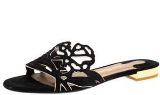 Salvatore Ferragamo Black Suede Cutout Flat Slide Sandals Size 37