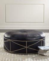 Massoud Shipley Leather Ottoman