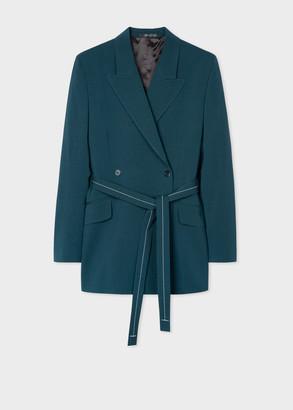 Paul Smith Women's Dark Teal Wool-Mohair Wrap Blazer