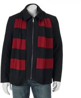 Izod Men's Wool Jacket & Scarf Set