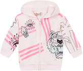 Kenzo Girl's Multi Icon Graphic Hooded Fleece Jacket, Size 6-18 Months