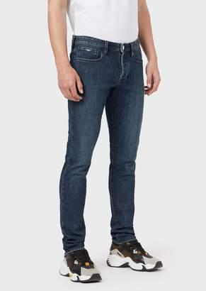 Emporio Armani Slim-Fit J75 Jeans In Mixed-Silk Denim