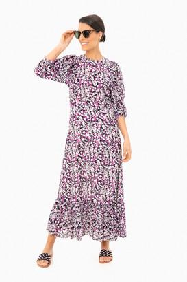 Sea New York Blue Borealis Batik Puff Sleeve Dress