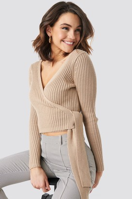 NA-KD Overlap Ribbed Knitted Sweater Purple